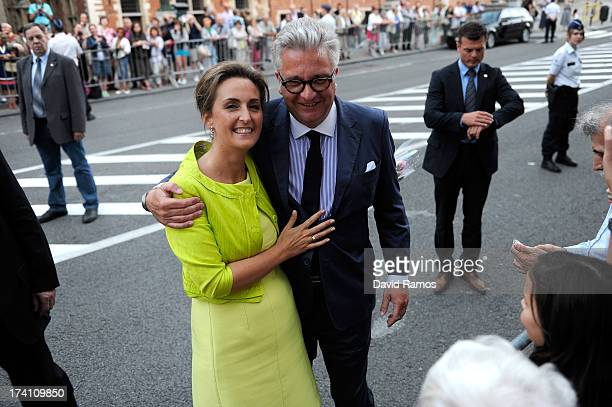 Princess Claire of Belgium and Prince Laurent of Belgium depart the concert held ahead of Belgium abdication & coronation on July 20, 2013 in...