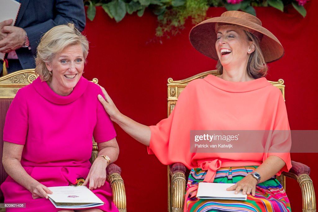 Princess Claire of Belgium and Princess Astrid of Belgium attend the military parade on the occasion of the Belgian National Day in the front of the Royal Palace on July 21, 2017 in Brussels, Belgium.