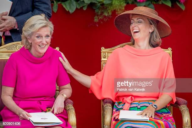 Princess Claire of Belgium and Princess Astrid of Belgium attend the military parade on the occasion of the Belgian National Day in the front of the...
