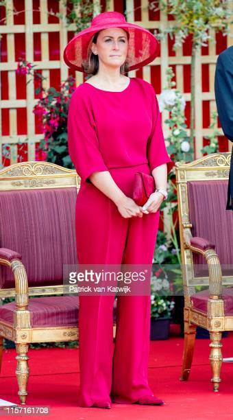 Princess Claire of Belgium attend the military parade during Belgian National Day on July 21, 2019 in Brussels, Belgium.