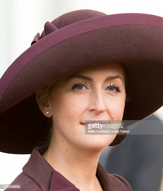 Princess Claire of Belgium attend the wedding ceremony of Prince Guillaume Of Luxembourg and Stephanie de Lannoy at the Cathedral of our Lady of...