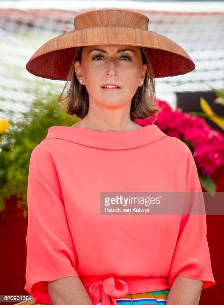 Princess Claire of Belgium attends the military parade on the occasion of the Belgian National Day in the front of the Royal Palace on July 21, 2017...