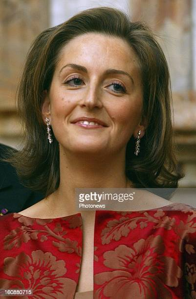 Princess Claire of Belgium during the State visit of the Greek President Constantinos Stephanopoulos to Belgium on February 1 2005 in Brussels Belgium