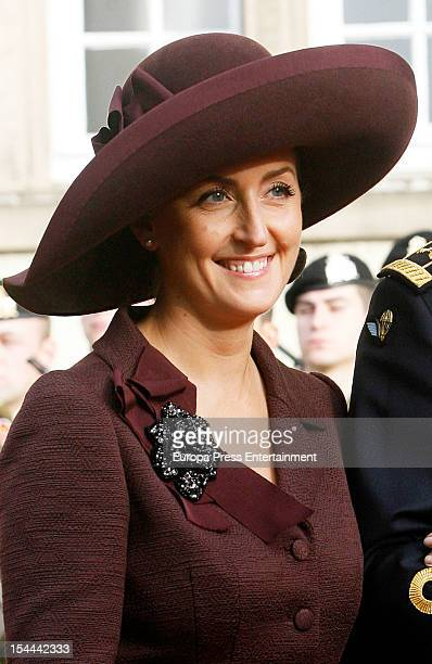 Princess Claire of Belgium during the wedding ceremony of Prince Guillaume Of Luxembourg and Countess Stephanie de Lannoy at the Cathedral of our...