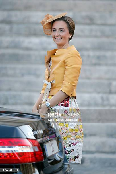 Princess Claire of Belgium is seen in front of the Cathedral of St Michael and Saint Gudula prior to the Abdication Of King Albert II Of Belgium...