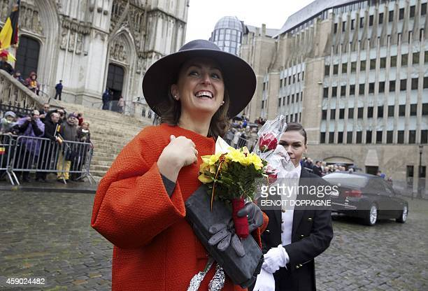 Princess Claire of Belgium leaves after the Te Deum mass at the Saint Michael and Saint Gudula Cathedral as part of the King's Feast in Brussels on...