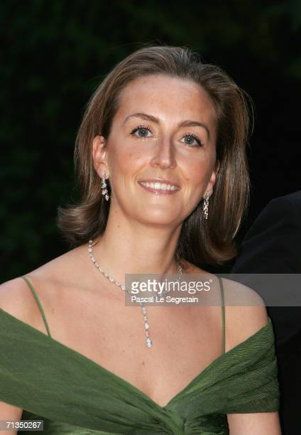 Princess Claire of Belgium poses as she arrives to attend a royal dinner that is part of the Grand Duke Henri of Luxembourg's silver wedding...