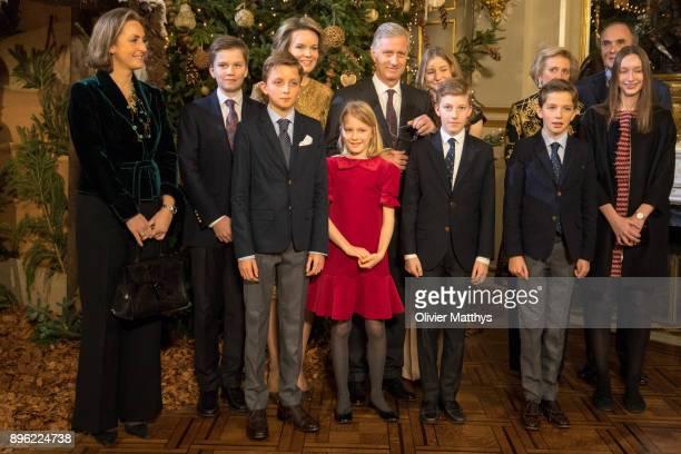 Princess Claire of Belgium Prince Gabriel of Belgium Prince Nicolas of Belgium Queen Mathilde of Belgium Princess Elonore of Belgium King Philippe of...