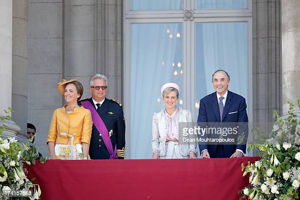 Princess Claire of Belgium, Prince Laurent of Belgium, Princess Astrid of Belgium and Prince Lorenz of Belgium seen during the Abdication Of King...