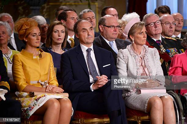 Princess Claire of Belgium, Prince Lorenz of Belgium and Princess Astrid of Belgium during the abdication ceremony of King Albert II inside the Royal...