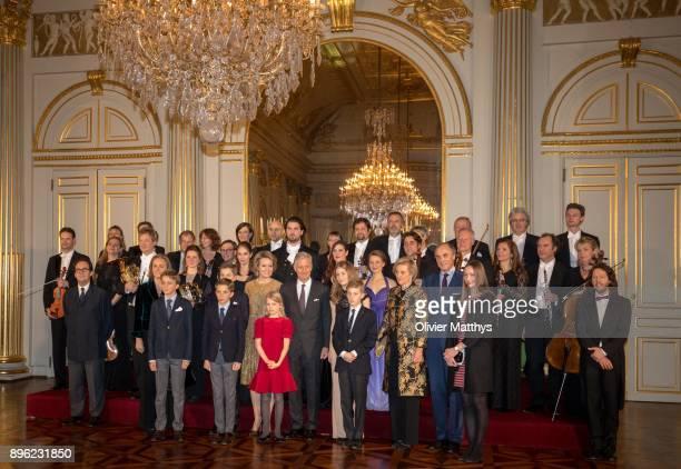 Princess Claire of Belgium, Prince Nicolas of Belgium, Prince Gabriel of Belgium, Prince Aymeric of Belgium, Queen Mathilde of Belgium, Princess...