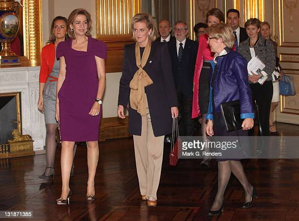 Princess Claire of Belgium, Princess Cristina of Spain, Princess Astrid of Belgium and Princess Mathilde of Belgium attend a conference dealing with...