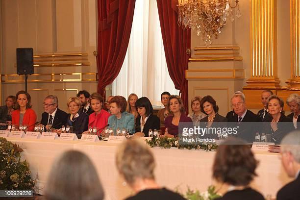 Princess Claire of Belgium Princess Mathilde of Belgium Madame Vaira VikeFreiberga Madame Roberta Angelilli HRH Infanta Cristina of Spain Queen...