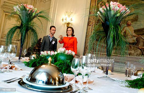 Princess Claire of Belgium visits an amaryllis flowers exhibition on April 26 2013 at the 'Chateau de Beloeil' castle in Beloeil AFP PHOTO / BELGA...