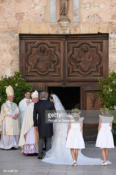 Princess Claire Of Luxembourg and her father Hartmut Lademacher are greeted by Most Reverend JeanClaude Hollerich Archbishop of Luxembourg as they...
