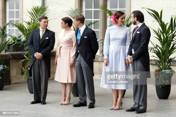 Princess Claire of Luxembourg and Prince Felix of Luxembourg arrive for Te Deum for National Day at Notre Dame du Luxembourg cathedral on June 23...