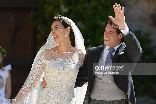 Princess Claire Of Luxembourg and Prince Felix Of Luxembourg depart their wedding ceremony at the Basilique Sainte MarieMadeleine on September 21...