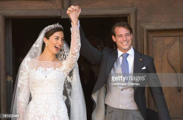 Princess Claire Of Luxembourg and Prince Felix Of Luxembourg depart their wedding ceremony at Basilique Sainte MarieMadeleine on September 21 2013 in...