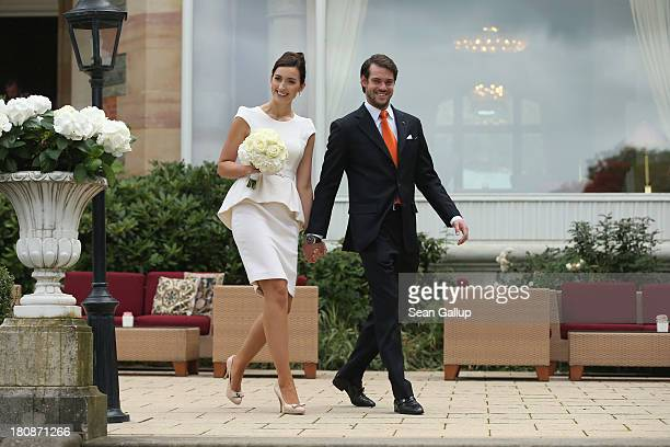Princess Claire of Luxembourg and Prince Felix Of Luxembourg emerge from the Villa after taking their vows at their Civil Wedding Ceremony at Villa...