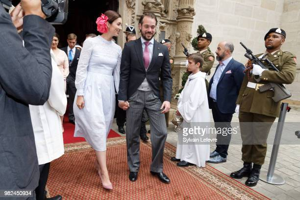 Princess Claire of Luxembourg and Prince Felix of Luxembourg leave Notre Dame du Luxembourg cathedral after attending Te Deum for National Day on...