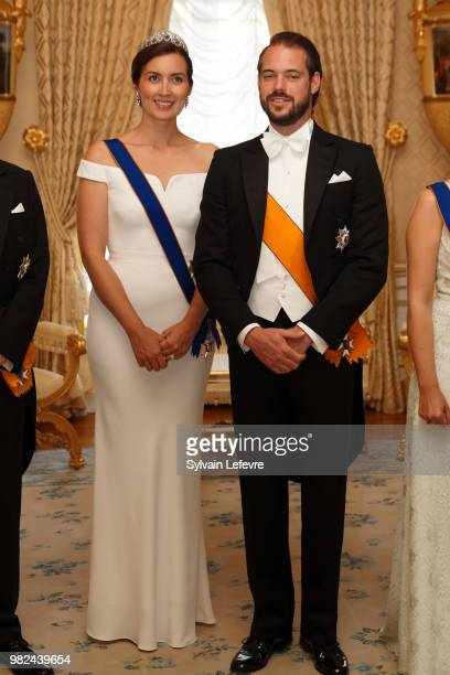 Princess Claire of Luxembourg and Prince Felix of Luxembourg pose for photographers before the official dinner for National Day at the ducal palace...