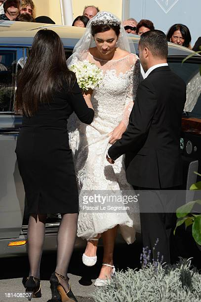 Princess Claire Of Luxembourg arrives to her Religious Wedding to Prince Felix Of Luxembourg at the Basilique Sainte MarieMadeleine on September 21...