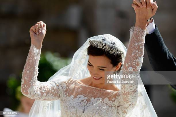 Princess Claire Of Luxembourg departs from her wedding ceremony at the Basilique Sainte MarieMadeleine on September 21 2013 in...