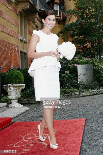 Princess Claire of Luxembourg departs the villa after her Civil Wedding to Prince Felix Luxembourg at Villa Rothschild Kempinski on September 17,...