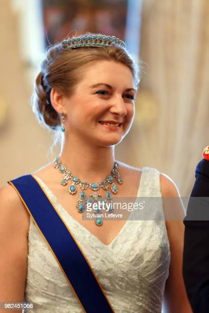Princess Claire of Luxembourg poses for photographers before the official dinner for National Day at the ducal palace on June 23 2018 in Luxembourg...
