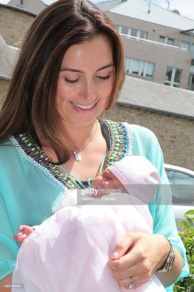 Princess Claire of Luxembourg presents her daughter Princess Amalia, Gabriela, Maria Teresa after leaving the Maternity Grand-Duchesse Charlotte Centre Hospitalier de Luxembourg on June 17, 2014 in Luxembourg, Luxembourg.
