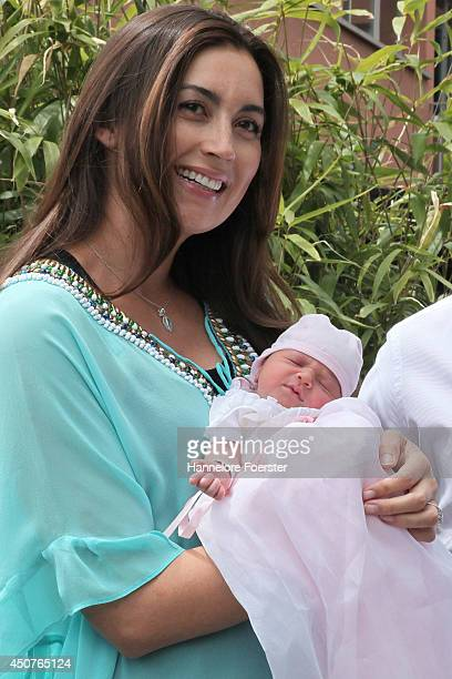 Princess Claire of Luxembourg presents her daughter Princess Amalia, Gabriela, Maria Teresa after leaving the Maternity Grand-Duchesse Charlotte...