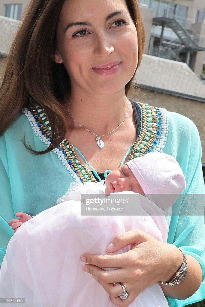 Prince Felix Of Luxembourg And Princess Claire of Luxembourg Present Their Daughter Princess Amalia, Gabriela, Maria Teresa : News Photo