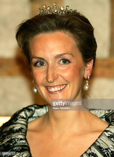 Princess Claire poses before the gala dinner at Laeken Castle October 18 2005 in Brussels Belgium Portuguese President Jorge Sampaio and his wife...