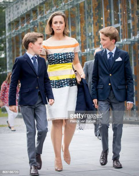 Princess Claire Prince Aymeric and Prince Nicolas of Belgium attend the 80th birthday celebrations of Belgian Queen Paola on June 29 2017 in Waterloo...
