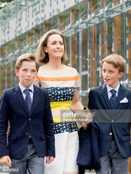 Princess Claire, Prince Aymeric and Prince Nicolas of Belgium attend the 80th birthday celebrations of Belgian Queen Paola on June 29, 2017 in...
