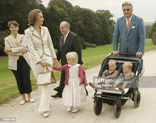 Princess Claire Princess Laetitia Prince Laurent Prince Emmerick and Prince Nicolas from Belgium assists a party for Queen Paola's 70th birthday at...
