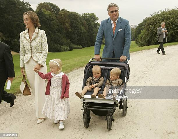 Princess Claire, Princess Laetitia, Prince Laurent, Prince Emmerick and Prince Nicolas from Belgium assists a party for Queen Paola's 70th birthday...