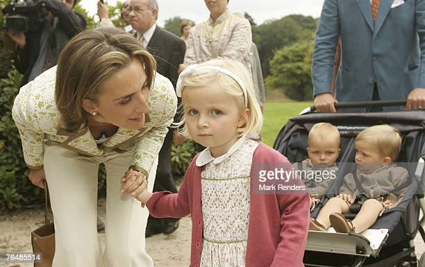 Princess Claire Princess Laetitia Prince Nicolas and Prince Emmerick assist a party for Queen Paola's 70th birthday at Laeken Castle on September 02...