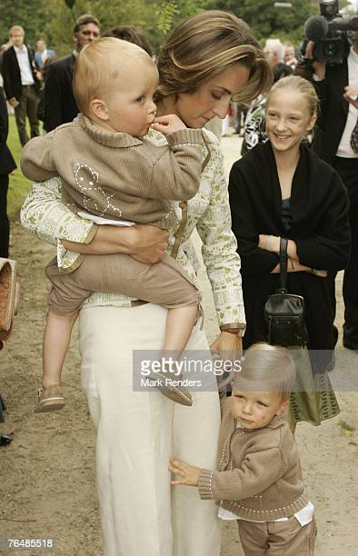 Princess Claire wiht sons Prince Emmerick and Prince Nicolas assist a party for Queen Paola's 70th birthday at Laeken Castle on September 02 2007 in...