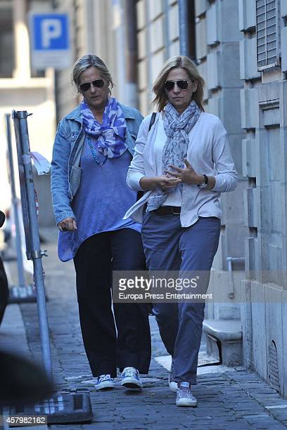 Princess Cristina and Ana Urdangarin attend her grandson Juan Valentin Urdangarin's birthday on September 27 2014 in Geneva Switzerland
