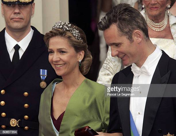 Princess Cristina and her husband Inaki Urdangarin leave Copenhagen Cathedral after the wedding ceremony between Danish Crown Prince Frederik and his...