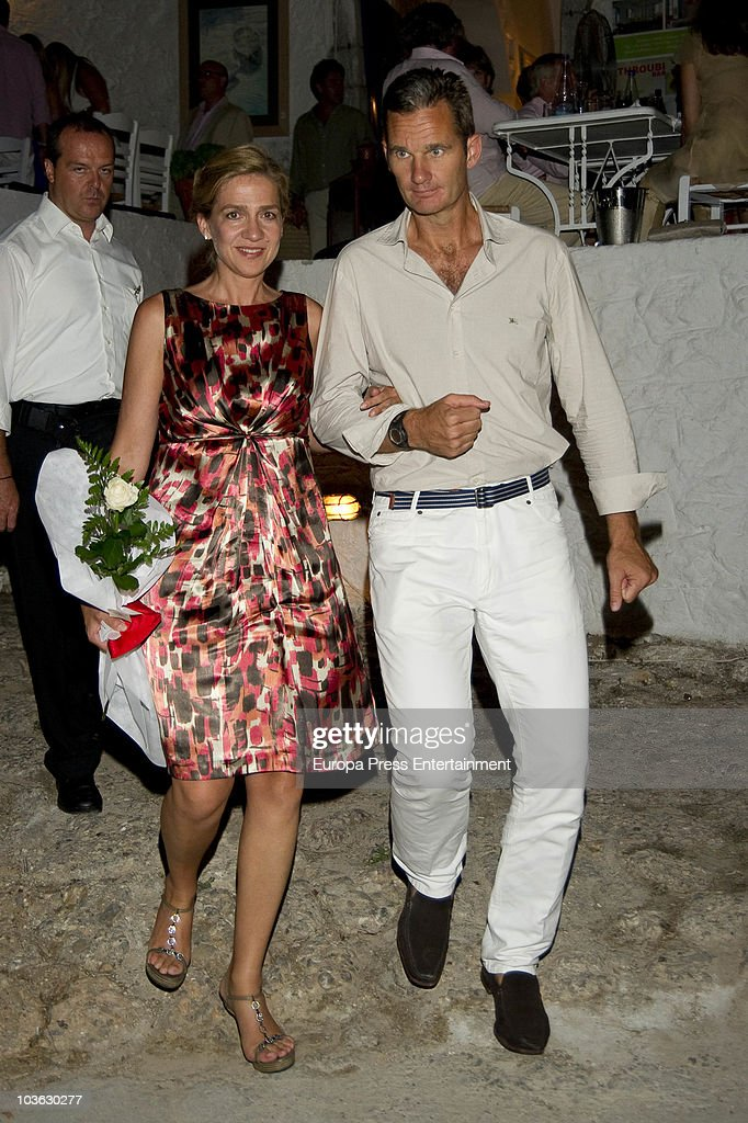Princess Cristina and Inaki Urdangarin attend a dinner for young people at a small greek restaurant after the pre-wedding reception at the Poseidon Hotel on August 24 2010 in Spetses, Greece. The small greek Island, three hours from Athens, is gearing up for the Royal Wedding of Prince Nikolaos of Greece and Tatiana Blatnik on August 25. Royals from all over Europe and the world are expected to attend the ceremony. Prince Nikolaos is the second son of King Constantine and Queen Anne-Marie while Tatiana is an events planner for Diane Von Furstenburg in London. Many of the VIP guests are expected to stay in the Poseidon Hotel in the town centre.