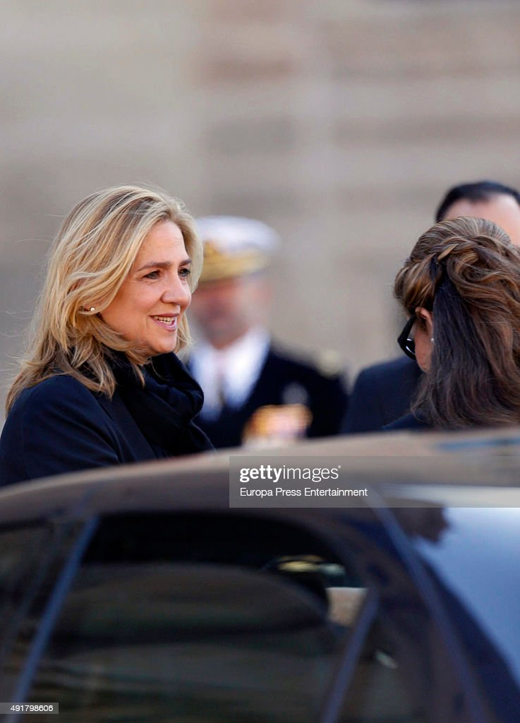 Princess Cristina (L) and Princess Elena attend the Corpore Insepulto mass for Carlos de Borbon Dos Sicilias, second cousin of King Juan Carlos, and Duke of Calabria, at San Lorenzo de El Escorial on October 8, 2015 in San Lorenzo de El Escoria, Spain. Carlos de Borbon was born in 1938 and attended school with King Juan Carlos, where they become very good friends. He ranked first in the line of succession after the descendants of Don Juan Carlos and Queen Sofia.