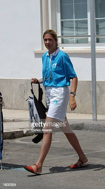 Princess Cristina arrives at Royal Nautical Club of Palma of Mallorca July 29 2001 on Palma de Mallorca Island Spain