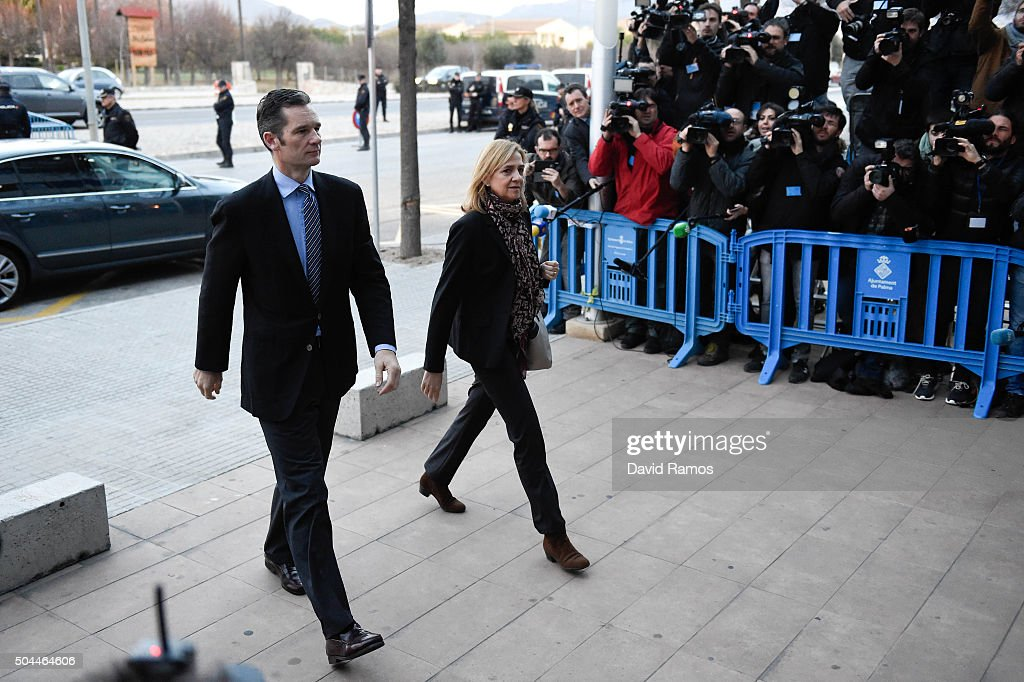 Princess Cristina de Borbon and her husband Inaki Urdangarin arrive at the courtroom at the Balearic School of Public Administration for summary proceedings on January 11, 2016 in Palma de Mallorca, Spain. Princess Cristina of Spain, sister of King Felipe VI of Spain, faces a tax fraud trial over alleged links to business dealings of her husband, Inaki Urdangarin. Princess Cristina co-owned with her husband a company called Aizoon alleged to be one of the companies used by the non-profit foundation named 'Instituto NOOS' headed by Inaki Urdangarin to misuse 5.6 million euro of public funds which were allocated to organise sports and tourism events.