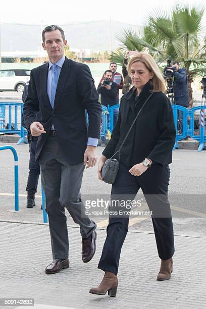 Princess Cristina de Borbon and her husband Inaki Urdangarin arrive at the courtroom at the Balearic School of Public Administration for summary...