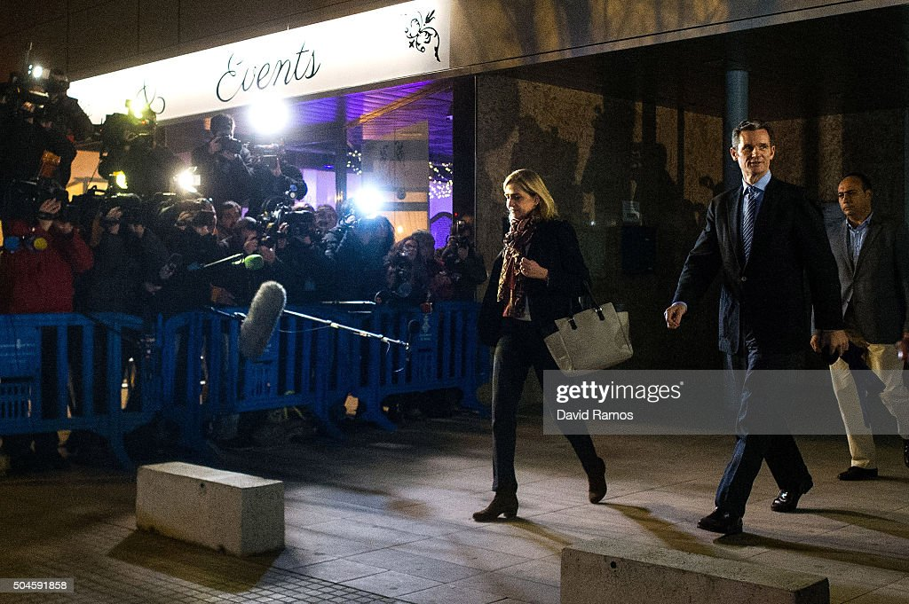 Princess Cristina de Borbon and her husband Inaki Urdangarin leave the courtroom at the Balearic School of Public Administration for summary proceedings on January 11, 2016 in Palma de Mallorca, Spain. Princess Cristina of Spain, sister of King Felipe VI of Spain, faces a tax fraud trial over alleged links to business dealings of her husband, Inaki Urdangarin. Princess Cristina co-owned with her husband a company called Aizoon alleged to be one of the companies used by the non-profit foundation named 'Instituto NOOS' headed by Inaki Urdangarin to misuse 5.6 million euro of public funds which were allocated to organise sports and tourism events.