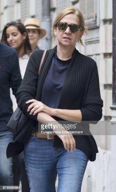 Princess Cristina is seen the day of his son Juan Valentin Urdangarin's 18th birthday on September 30 2017 in Geneva Switzerland