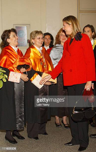 Princess Cristina of Spain and guests during Princess Cristina of Spain Presides Over the Complutense University Graduation Ceremony at Complutense...