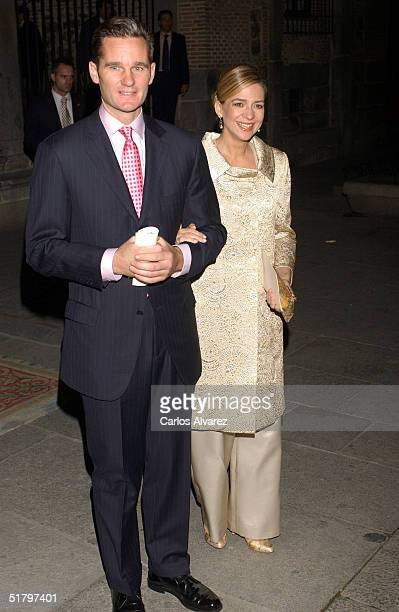Princess Cristina of Spain and her husband Inaki Urdangarin attend the wedding of Fernando Gomez Acebo, son of King Juan Carlos's sister Dona Pilar,...